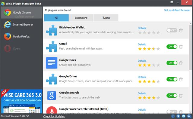 Wise Plugin Manager 移除無用的瀏覽器外掛、工具列及惡意程式