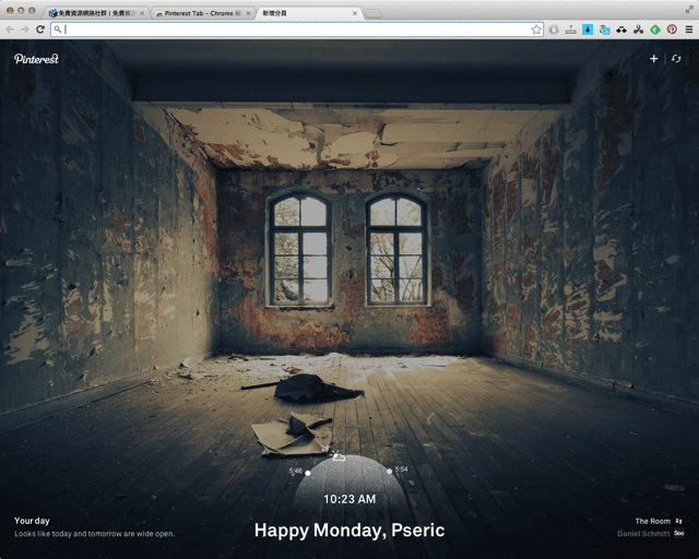 Pinterest Tab 以一張攝影美圖開啟嶄新的一天(Chrome 擴充功能) via @freegroup