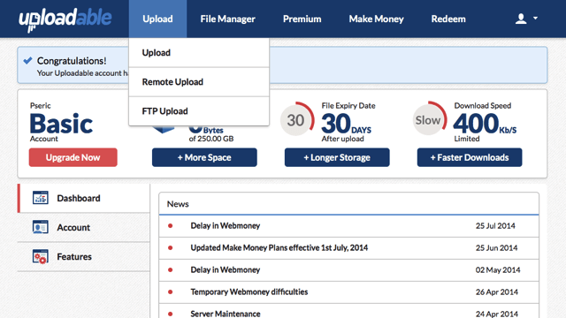 Uploadable.ch 可上傳單檔 2 GB 檔案、無須註冊的免費空間