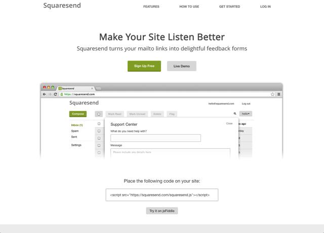 Squaresend 將網站、部落格的 Mailto 郵件鏈結轉為線上表單