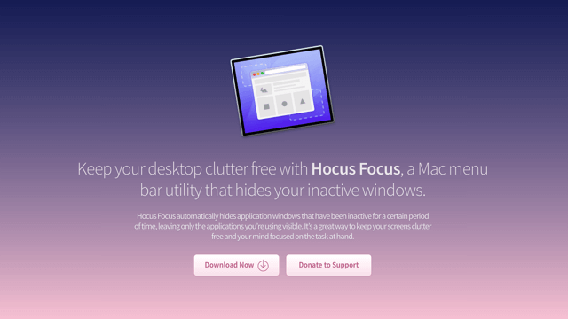 Hocus Focus 自動隱藏閒置、沒使用中的應用程式視窗(Mac)
