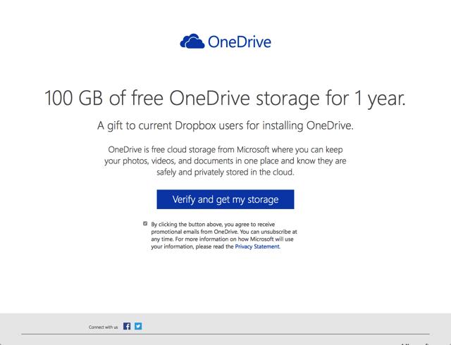 想搬家嗎?Dropbox 使用者可再免費獲取 100 GB 額外微軟 OneDrive 空間獎勵! via @freegroup