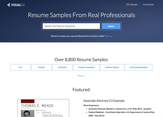 VisualCV 收錄超過 8,800 份英文履歷表設計範本,依工作職稱搜尋適合你的...