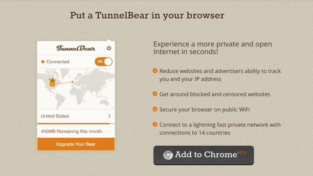 TunnelBear for Chrome 一鍵快速開啟關閉免費 VPN 加密,支援 14 個國家跳板連線(Chrome 擴充功能)