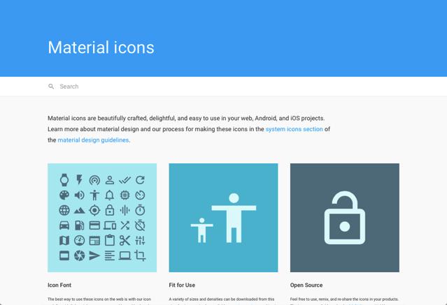 Google 提供免費 Material icons 向量圖示集,可自由用於個人或商業專案(SVG、PNGs、Icon Font)