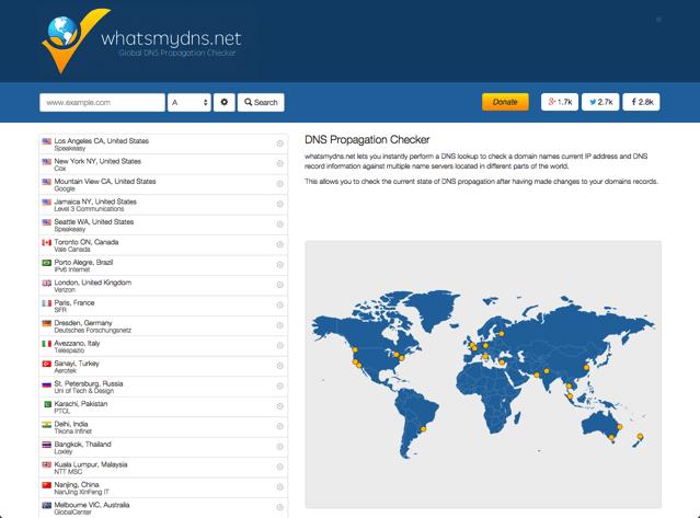 What's My DNS? 從五大洲 21 個節點查詢網域名稱伺服器紀錄更新情形