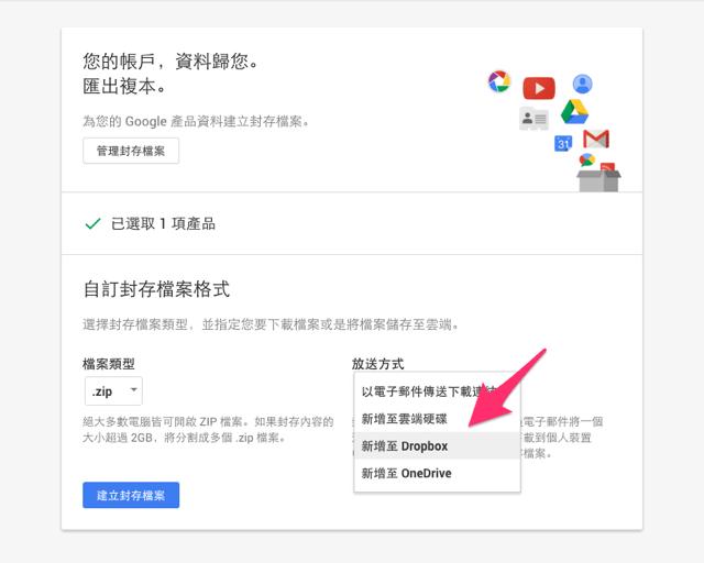 Google 資料備份支援直接轉存 Dropbox、OneDrive!
