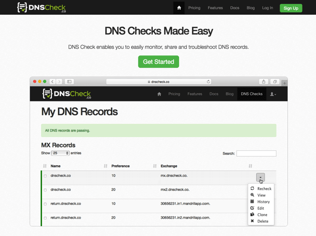 DNS Check 免費網站監測服務,每五分鐘自動檢查回傳 DNS 紀錄是否異動
