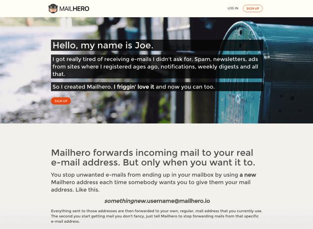 Mailhero 免費郵件轉寄服務,以匿名 Email 地址隱藏身份避免廣告垃圾信騷擾 via @freegroup