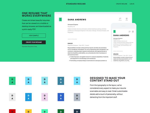 Standard Resume 免費線上履歷表,輕鬆設計超吸睛個人網頁