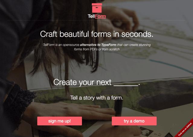 TellForm 開放原始碼表單產生器,Typeform 免費替代方案