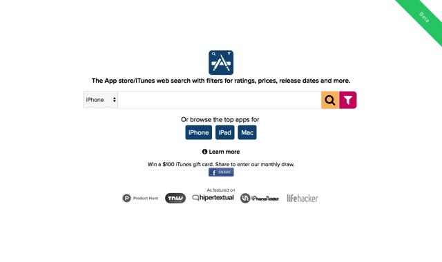TheAppStore 以評價、價格、分類和更新時間等條件篩選搜尋 App Store 應用程式