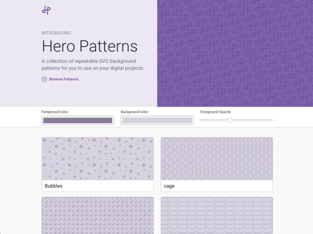 Hero Patterns 免費 SVG 重複背景圖產生器,產生 CSS 程式碼複製貼上快速套用