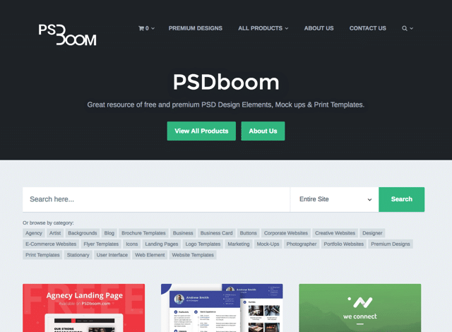 PSDBoom 免費 PSD 設計素材,收錄各式背景、網頁模版、LOGO 及印刷品下載