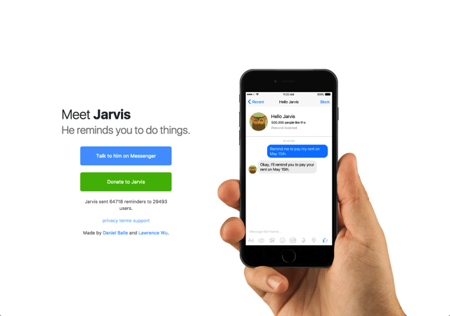 Hello Jarvis 你的專屬管家,透過 Messenger 機器人設定提醒通知