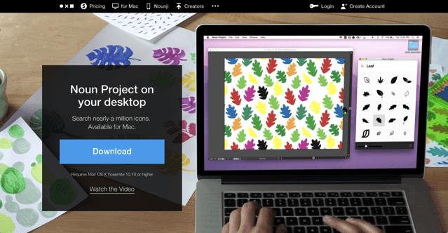 Noun Project for Mac 在桌面上快速搜尋免費圖示,免下載拖曳帶入應用程式