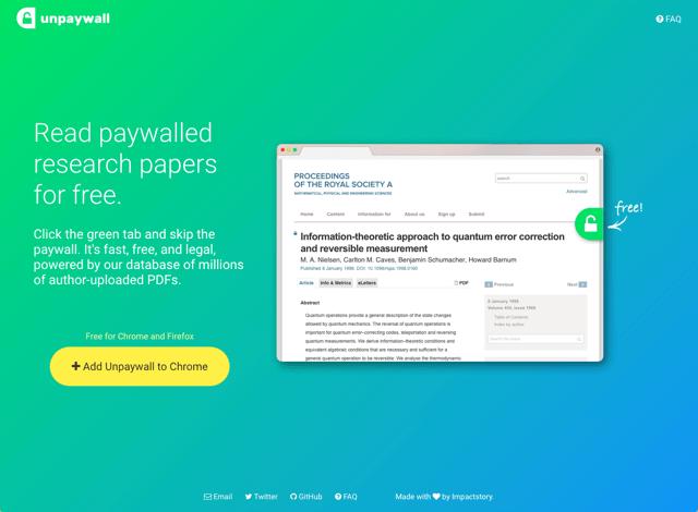 Unpaywall 打破付費牆!免費閱讀下載 Open Access 授權學術論文期刊 via @freegroup