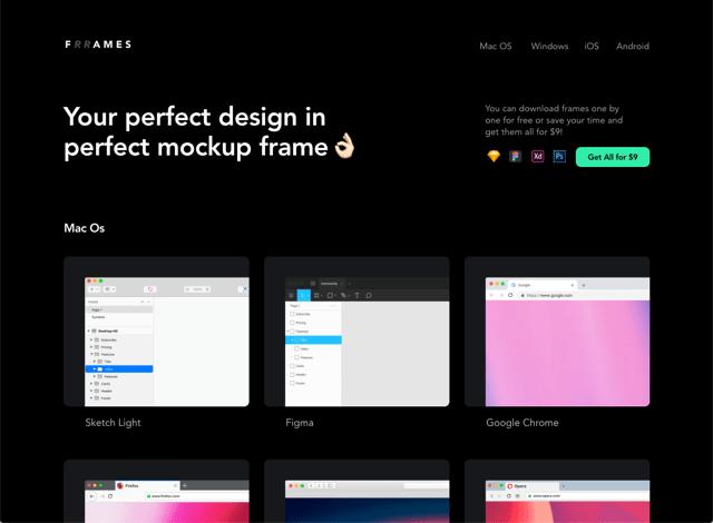 Frrames 瀏覽器視窗與裝置外框向量圖免費下載,製作擷圖更有質感