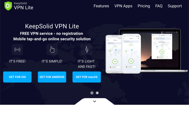 VPN Lite Without Registration 免費 VPN 支援 Mac、iOS、Android 無流量限制