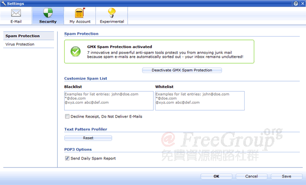 GMX Spam Protection & Virus Protection