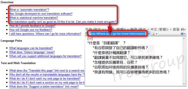 複製並貼上於 Dictionary .NET 就能進行全文翻譯