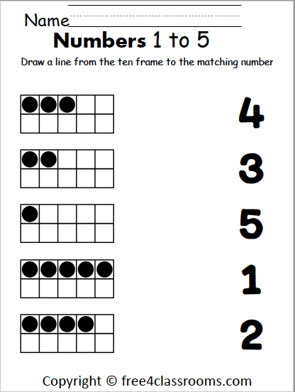 Free Number Matching Worksheet 1 To 5 Free4classrooms