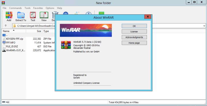 WinRAR 5.71 Beta 1 License key