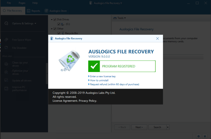 Auslogics File Recovery Professional 9.0.0 Key