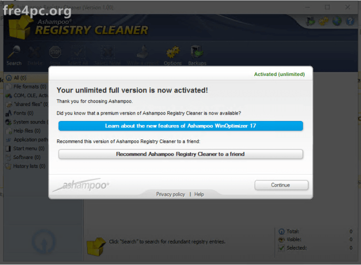 Ashampoo Registry Cleaner 1.00 Crack
