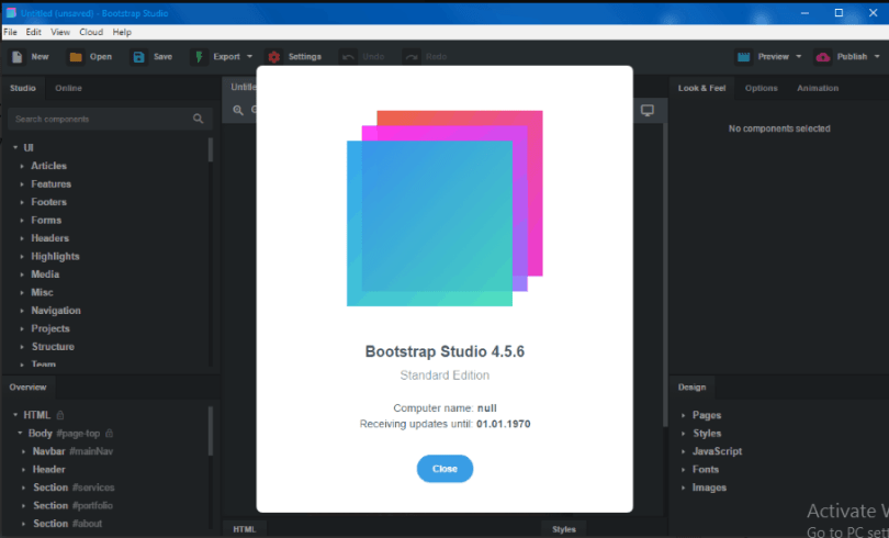 Bootstrap Studio 4.5.6 License Key