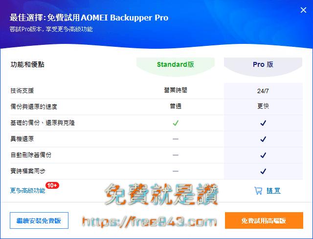 電腦備份軟體 AOMEI Backupper Standard 支援異機還原、同步資料夾