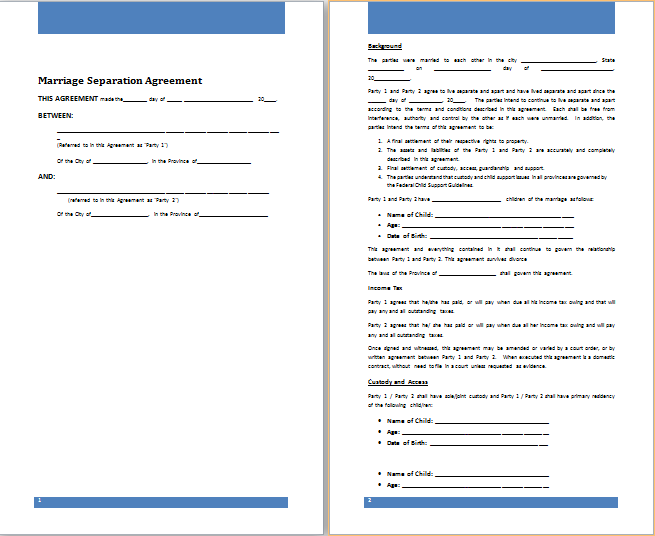 Attractive Separation Agreement Tario Template Pattern