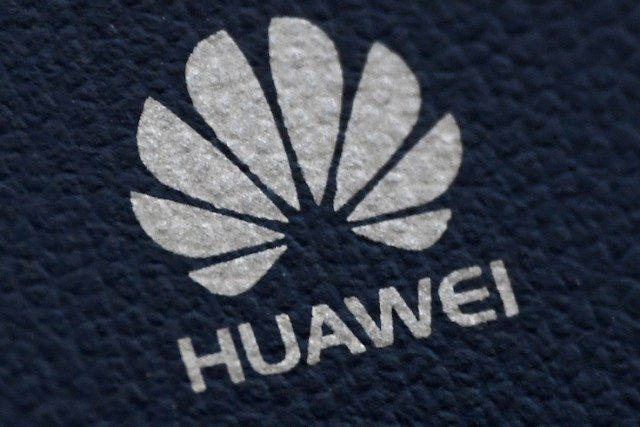 The Huawei logo is seen on a communications device in London, Britain