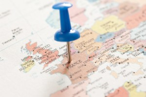 Image of Conceptual Blue Pin on Paris France Map | FreebiePhotography