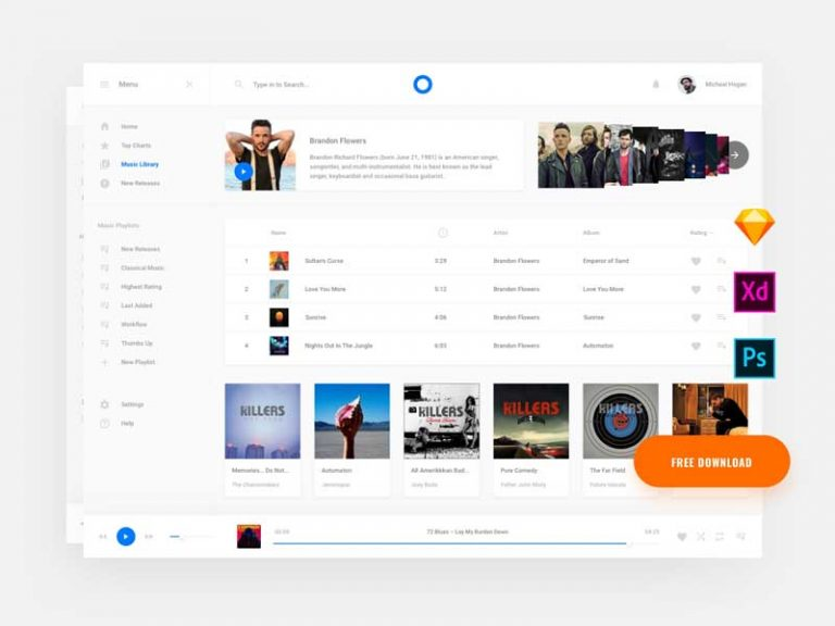 Download The Free Web Music Template Freebiefy