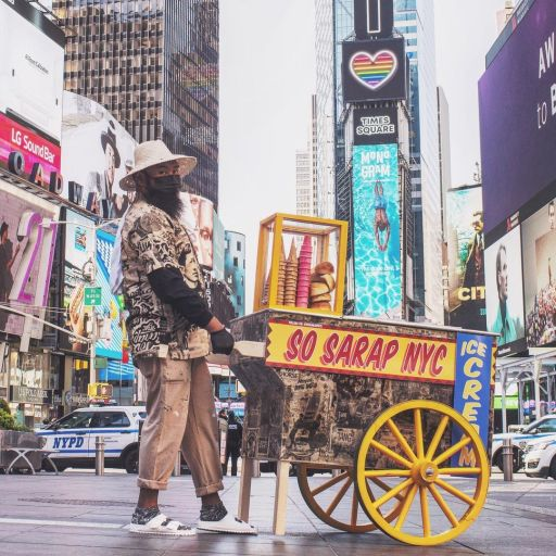 Th classic 'sorbetes' cart takes a stroll around New York Times Square