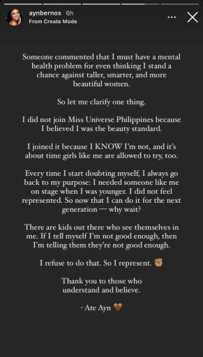 Ayn Bernos claps back at haters saying she's not made for Miss Universe PH