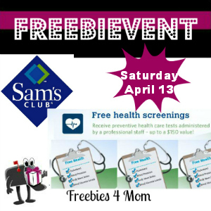 Free Health Screening at Sam's Club April 13