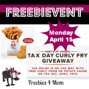 Free Curly Fries or Potato Cakes at Arby's April 15