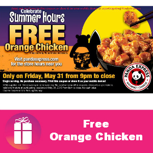 Free Orange Chicken at Panda Express May 31