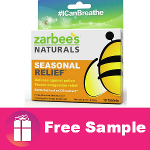 Freebie Zarbee's Naturals Seasonal Relief
