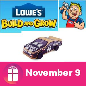 Free Pull Back Car Nov. 9 at Lowe's Kids Clinic