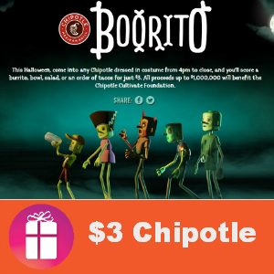 Eat at Chipotle for $3 on Halloween