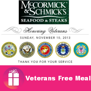 Free Meal for Veterans at McCormick & Schmick's