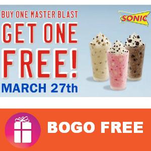 Sonic BOGO Free Master Blast March 27