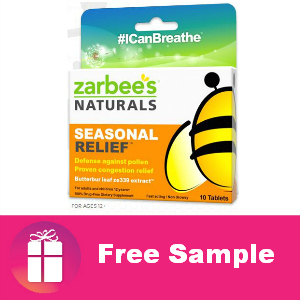 Free Zarbee's Seasonal Relief