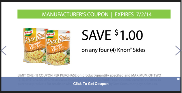Knorr Sides Coupon at Food Lion