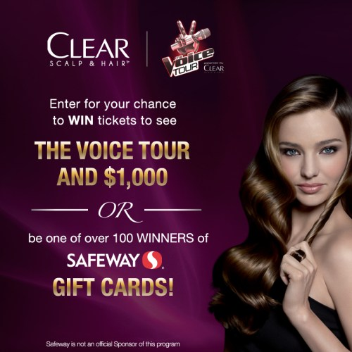 Win Tickets to The Voice Tour or Safeway Gift Card (139 winners)