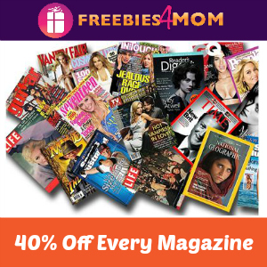 40% Off Every Magazine 12-4 pm CT