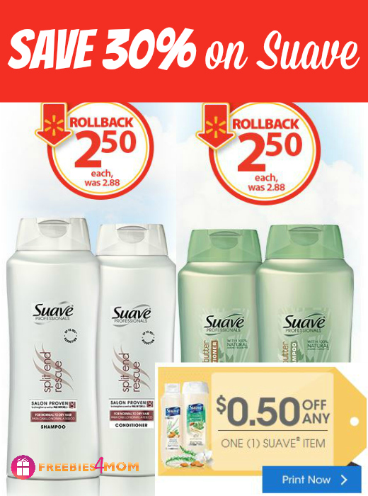 Suave Rollback at Walmart + Printable Suave Coupon